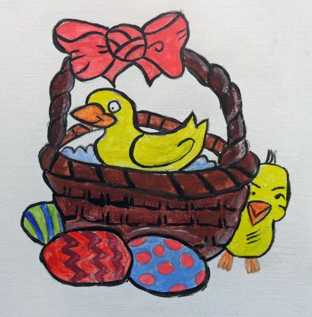 painting with duck in basket, with decorated eggs and chick