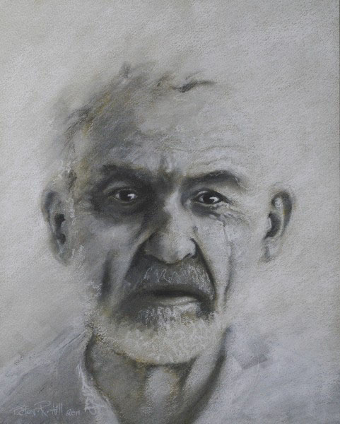 Pastel of old man portrait. By P.Hill