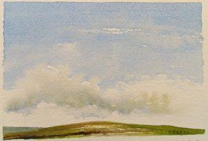 hilltop water colour landscape