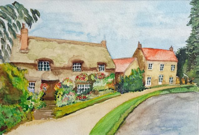 Art group member Cheryl's watercolour landscape painting