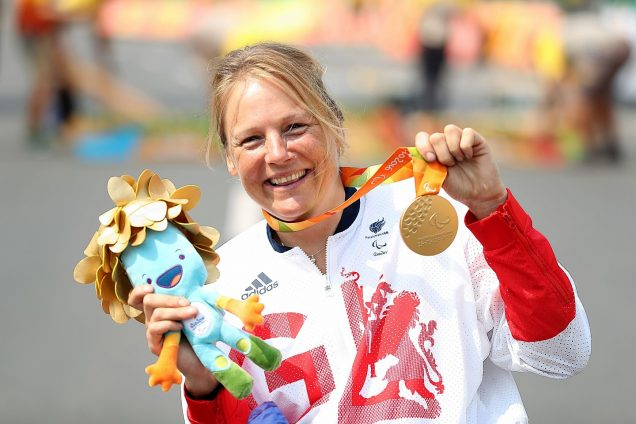 Karen Darke with her gold medal in the Rio Paralympics 2016