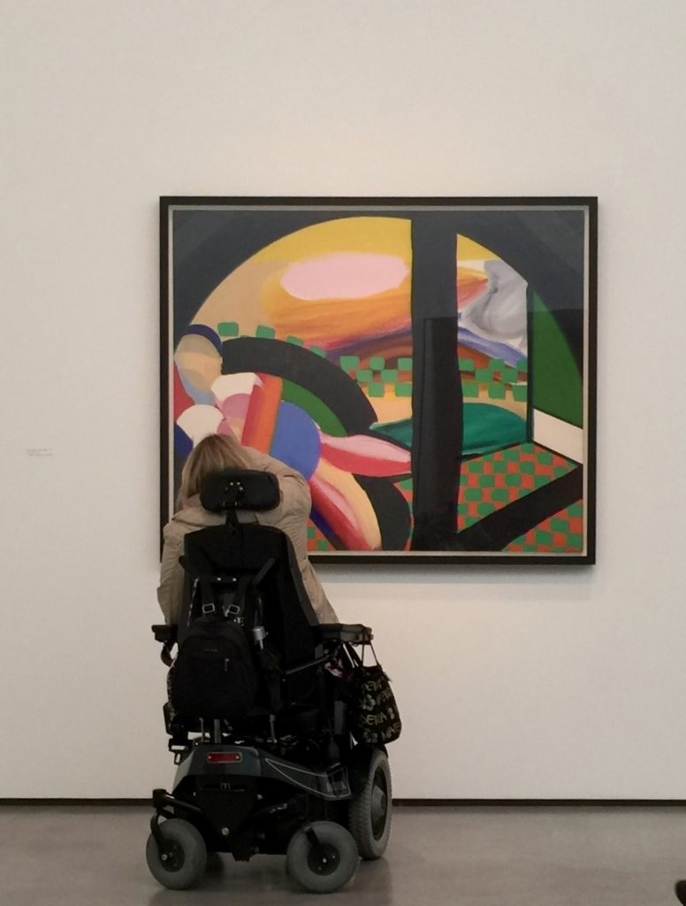 Carol Ramm viewing Howard Hodgkin's painting
