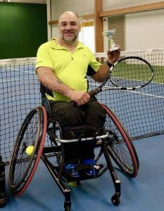 Simon Berry in his tennis chair